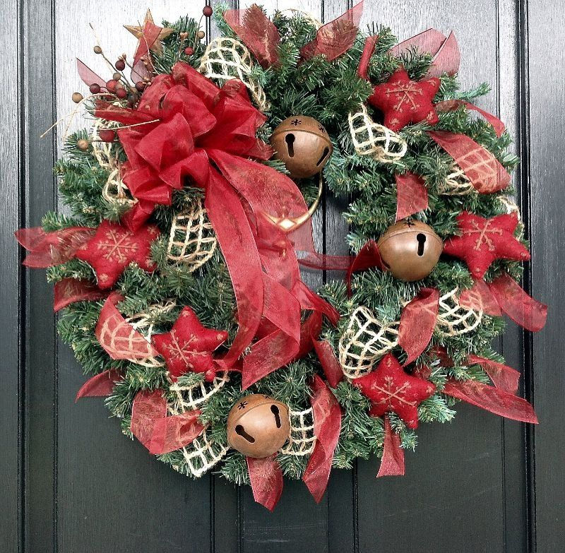 Jingle Bell Country Christmas Wreath with by SeasonsAtRosehill