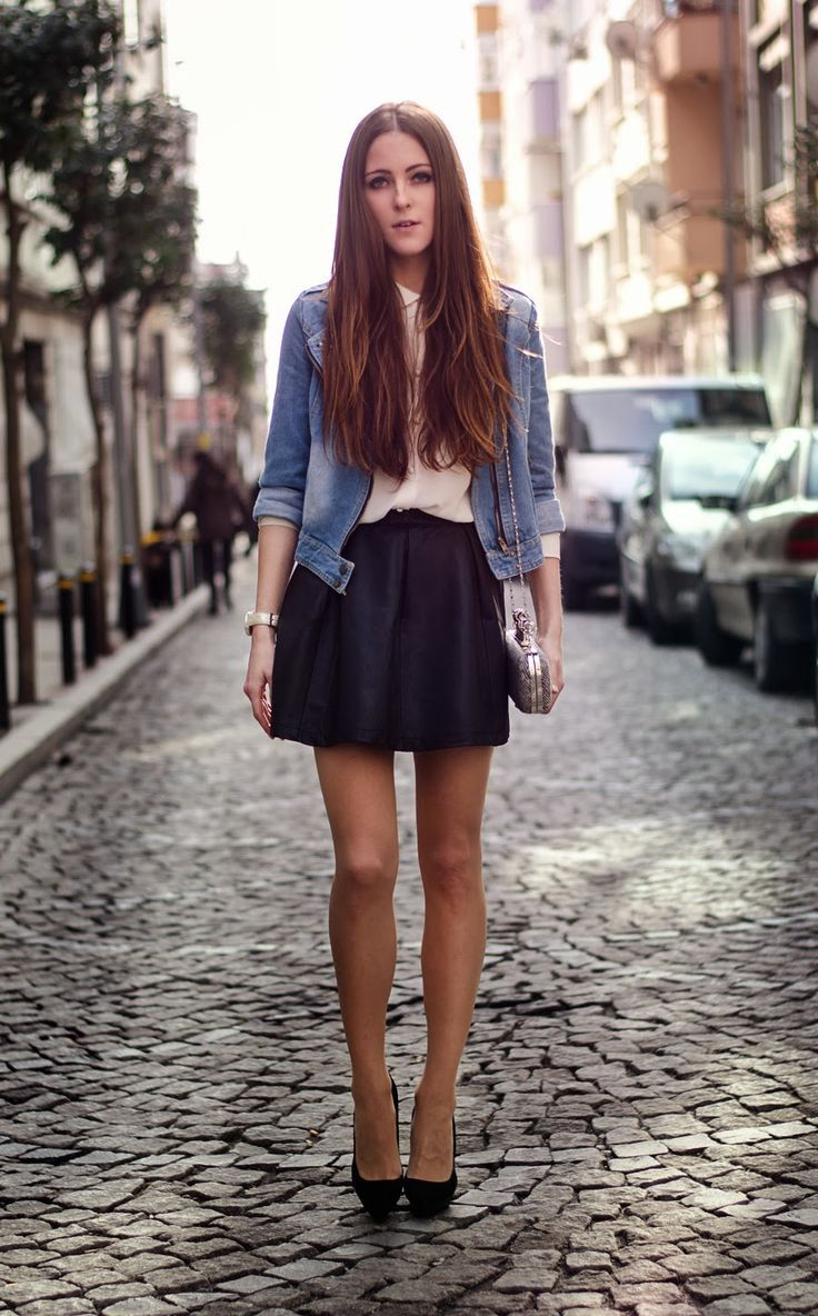 25 Photos Of Turkish Street Style Fashion Outfits Ideas Leather Skirt Outfit Denim Jacket Women Fashion [ 1184 x 736 Pixel ]