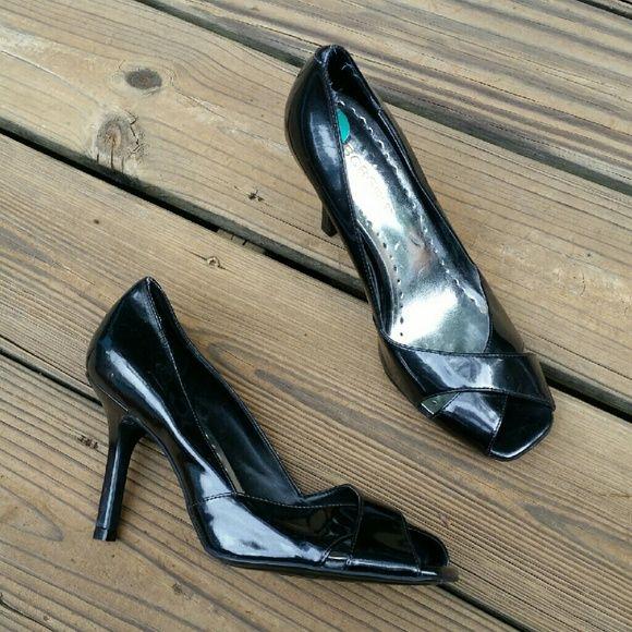 NWOT BCBGirls Black Patent Pumps Never worn! Open toe, black patent pump. BCBGirls Shoes