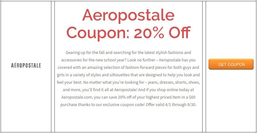 Aeropostale Coupon: 20% Off  Brought to you by http://www.imin.com and http://www.imin.com/store-coupons/aeropostale