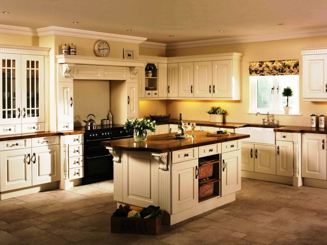 Cream Cabinets With A Wooden Countertop Omg Love This Country Kitchen Cabinets Painted Kitchen Cabinets Colors Ivory Kitchen Cabinets