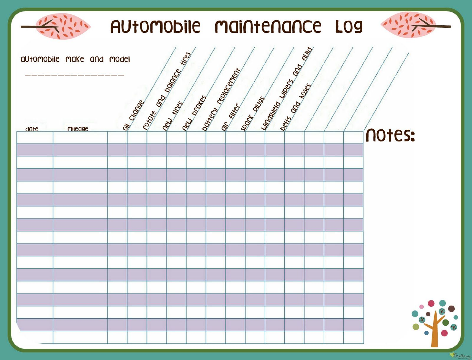 It's just a photo of Resource Car Maintenance Log Printable