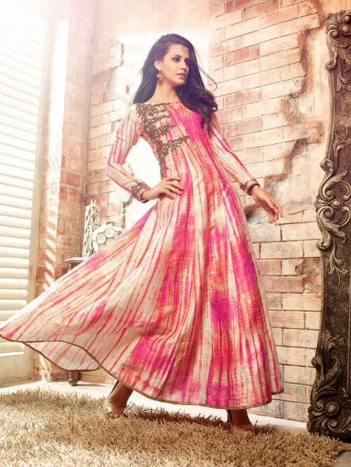 3407b5342ce Cream and Pink Banarasi Silk Anarkali Suit with Embroidery Work ...