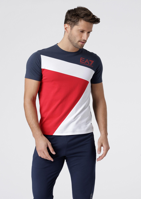 98da314577 Emporio Armani Ea7 Stretch Cotton Color Block T-Shirt With Logo in ...
