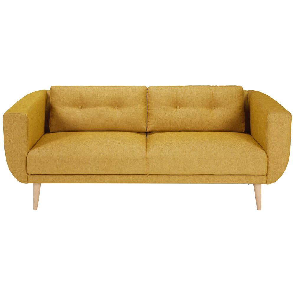canap 3 places en tissu jaune moutarde house canap jaune canap 3 places et canap jaune. Black Bedroom Furniture Sets. Home Design Ideas