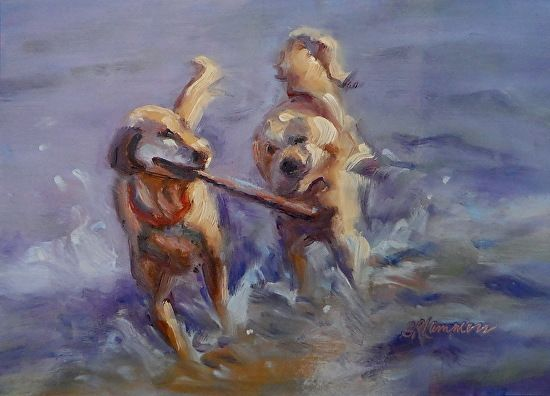 November 8 2014 Two New Dogs At The Beach Paintings To See