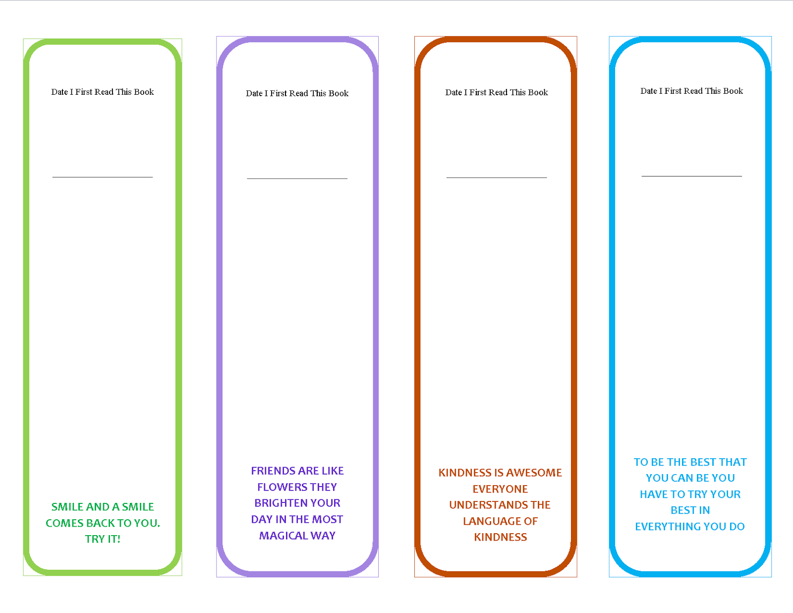 Printable Bookmark Templates Which Are Unique And Colorful For