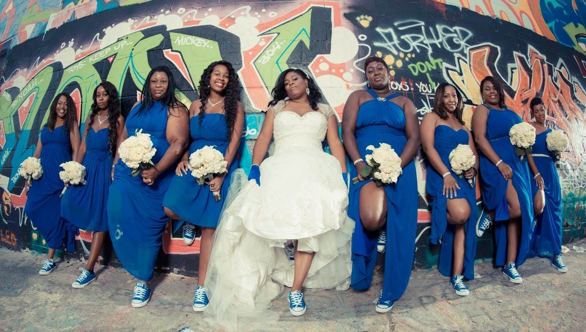 Our Royal Blue and White Wedding Bridal Party Graffiti
