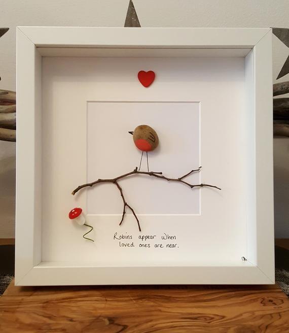 Photo of 23cm Pebble art ROBIN heart box frame picture