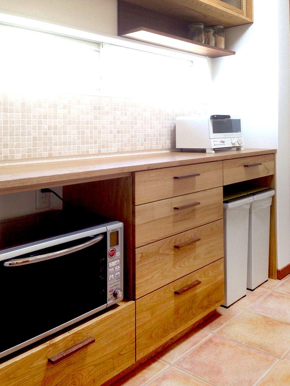オーダー家具 食器棚 関西 大阪 吹田 リビング キッチン 電子レンジ 収納 食器棚