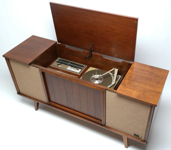 Mid Century Zenith Stereo Console Record Changer By Thevintedgeco Vintage Player Cabinet