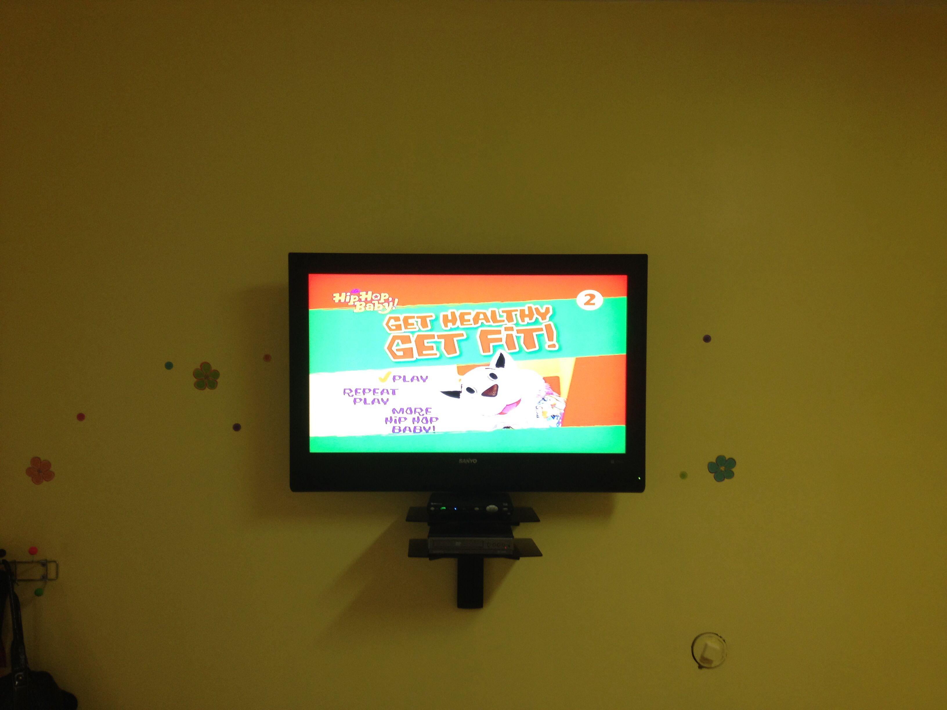 Flat Panel Lcd Tv Mount Installation In Kids Nursery With Floating Glass Shelf Underneath For At T U Verse Wireless Wall Mounted Tv Tv Wall Fireplace Tv Mount