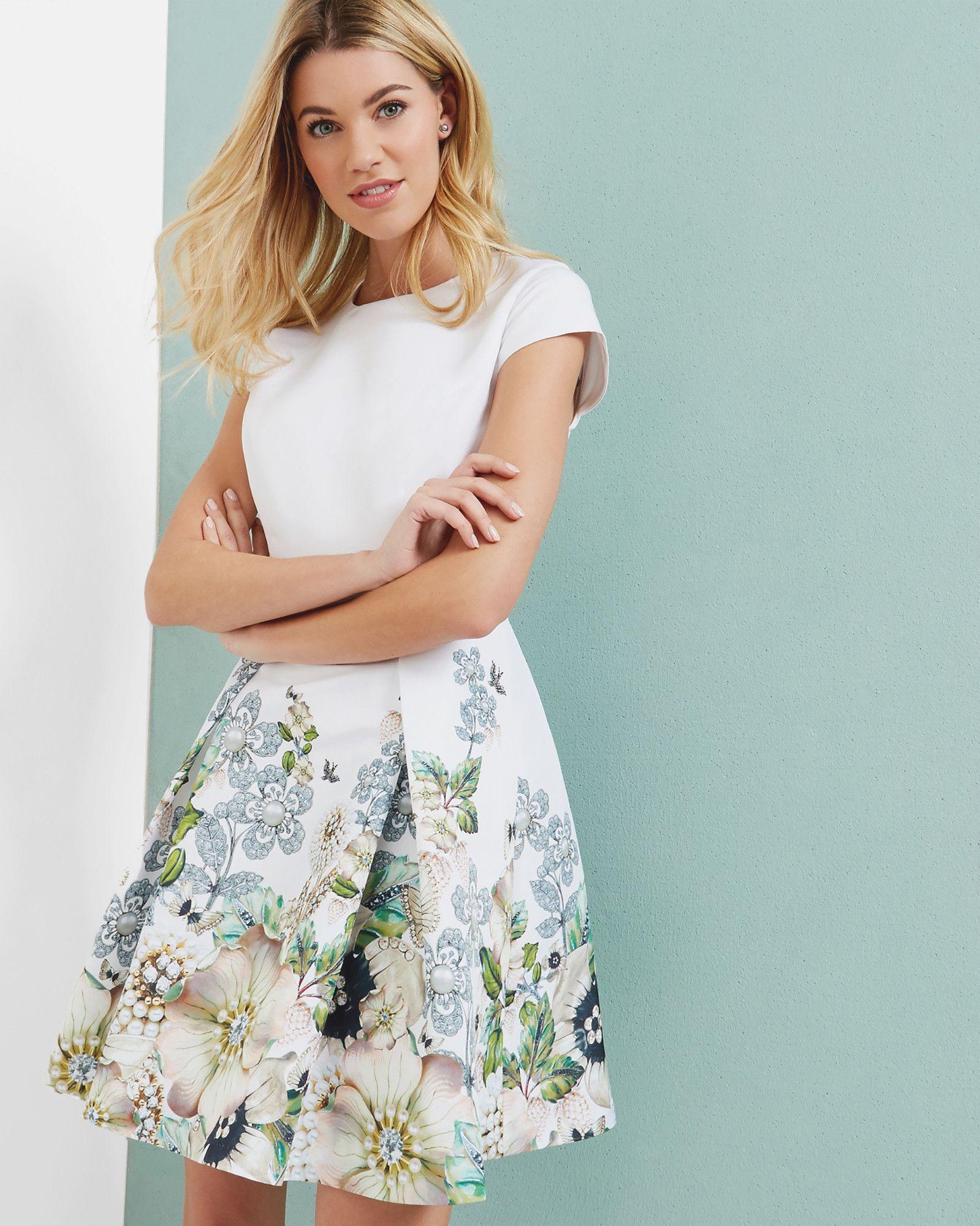 Gem Gardens pleated dress - Elfenbein   Kleider   Ted Baker DE ...