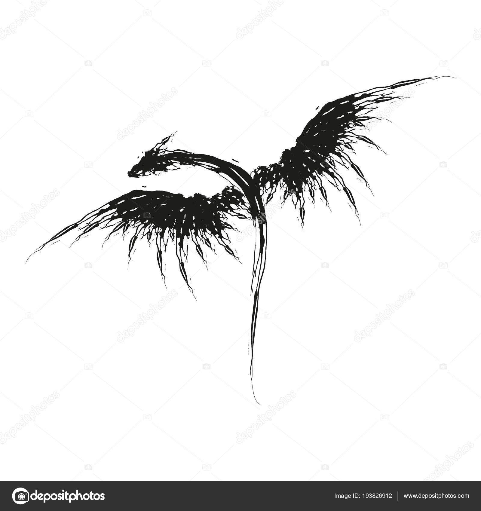 Photo of Schwarzer Drache Tattoo Silhouette handgezeichnete Drache-Vektor-Illustration – Stock I …