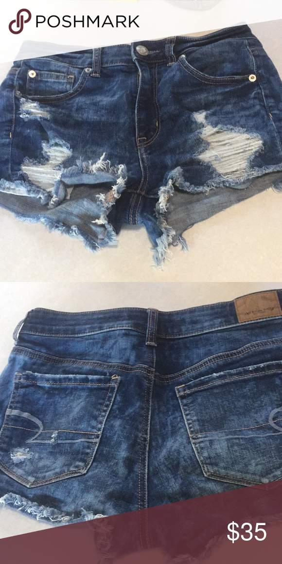 3bea4ad5e445 American Eagle hi-rise shorties These shorts have been worn and washed  once. Very comfy but did not fit my body. American Eagle Outfitters Shorts  Jean ...
