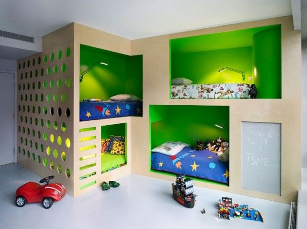bedroom for 4 boys, diff. bedding for each son