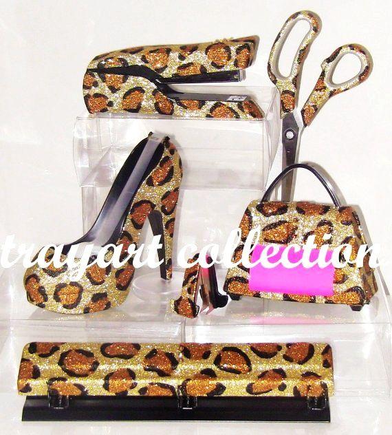 Merveilleux 6pc Gold Bronze Leopard Set, Stapler, Scissors, High Heel Tape Dispenser,  Purse Pop Up Note Dispenser, Hole Punch, Desktop Office Supplies