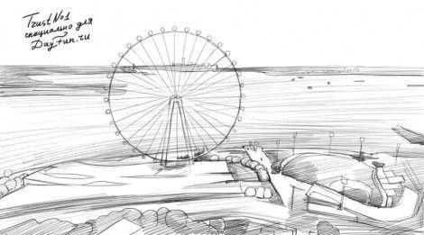 Как нарисовать колесо обозрения карандашом