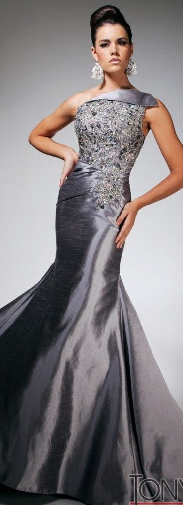 Fabulous Tony Bowls TBE 11311 Pewter off shoulder beaded ruched gown ...