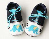 Blå elefant baby boy skor, marinblå denim / vit / turkos bebis Oxfords sneakers spjälsäng tossor