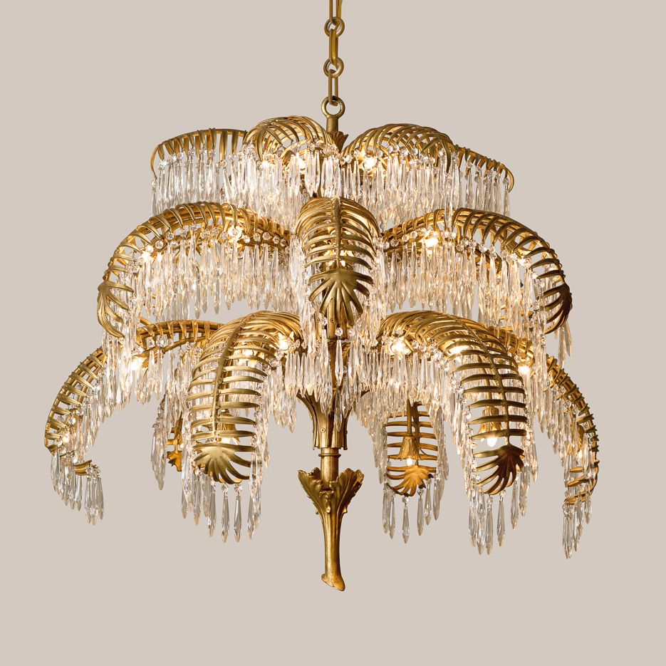 2148 L Crystal Palm Leaf Chandelier Gold Home Accessories Home