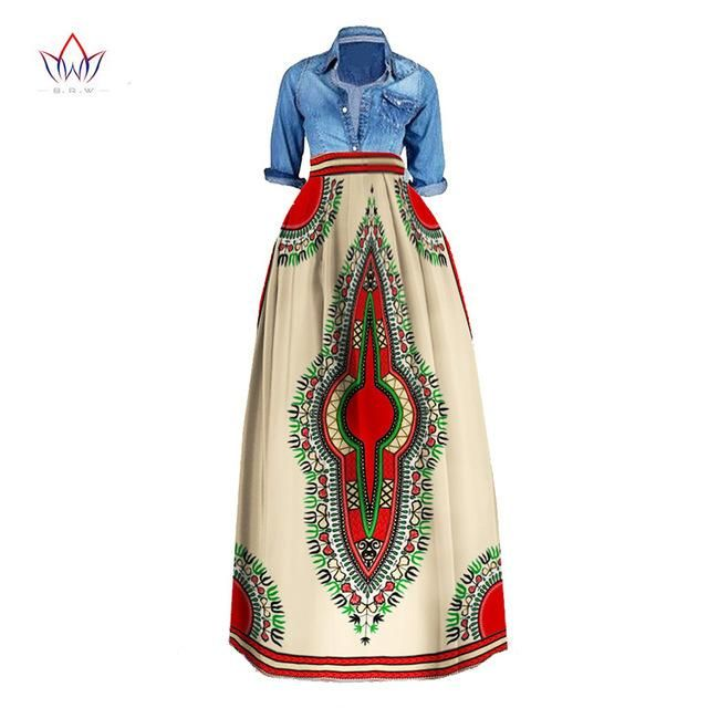 8695fb953fc African Print Summer Skirt for women Plus Size Dashiki African Traditional  Clothing Ball Gown Casual Skirts