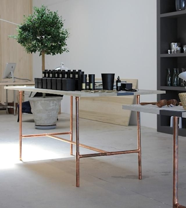 Copper Pipes As Table Legs At Garde In Los Angeles Remodelista