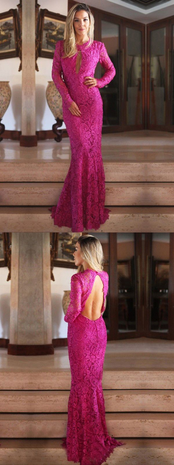 mermaid prom dress modest beautiful lace long prom dress vb