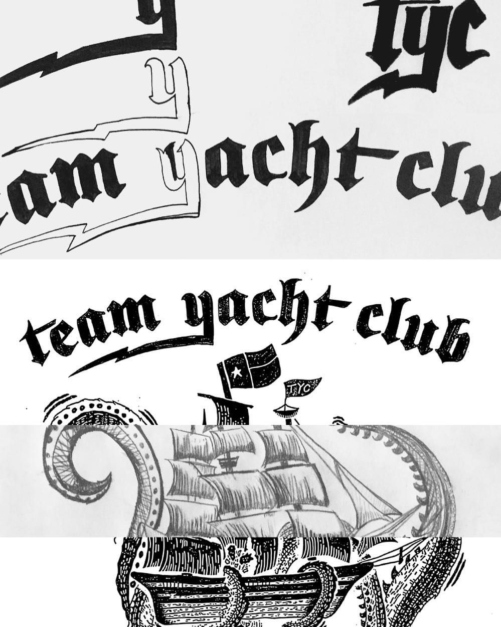 """Team Yacht Club"" blacklettering WIP by @mattthompson of @sturdymfgco for @teamyachtclub. Matt takes us through his process at www.lovegoodtype.com. See more progress shots and the finished piece at the link in bio.  #StrengthInLetters  #Goodtype by goodtype"