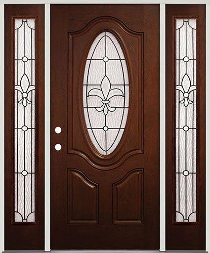 Fleur De Lis Fiberglas Front Door With Sidelites Pre Stained