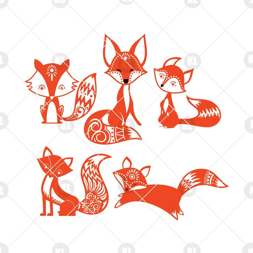 Cute Fox Digital Cut Files Svg, Dxf, Eps, Png, Cricut Vector, Digital Cut Files Download #cutefox
