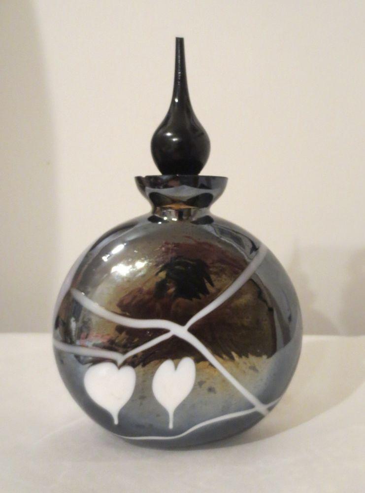 VINTAGE PERFUME BOTTLE FENTON ART CARNIVAL GLASS black//white EINHOLDT DESIGN