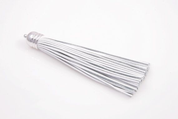 - White Color Leather - Silver Color Brass Cap / 12mm x 98mm - 1pcs / 1pack