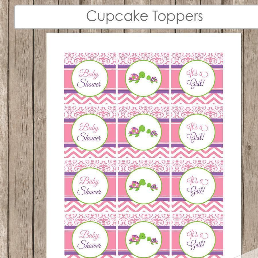 Turtle Baby Shower Cupcake Toppers, Pink Purple Green Toppers, Girl Turtle -  It's a Girl Baby Shower - st2 INSTANT DOWNLOAD - http://babyshowercupcake-toppers.com/turtle-baby-shower-cupcake-toppers-pink-purple-green-toppers-girl-turtle-its-a-girl-baby-shower-st2-instant-download/