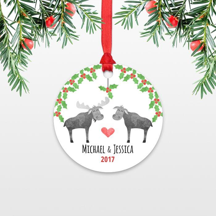 Moose Couple Personalized Christmas Ornament - custom christmas ...