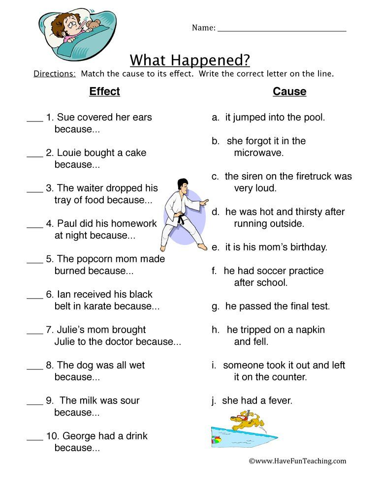 What Happened Cause Effect Worksheet First Grade Worksheets