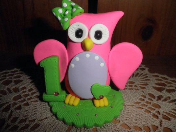 Polymer Clay Owl First Birthday Owl Cake TopperKeepsakeGift