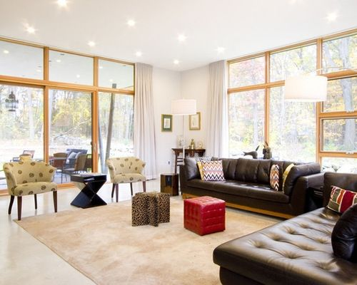 Modern Brown Leather Couch Houzz With Brown Leather Sofa Living Room With Images Leather Couches Living Room