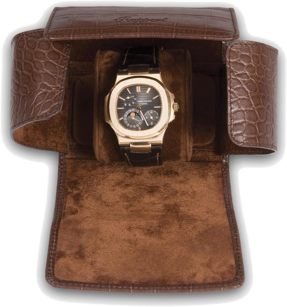 Rapport - Portman Single Watch Roll - Brown Crocodile Leather | L117