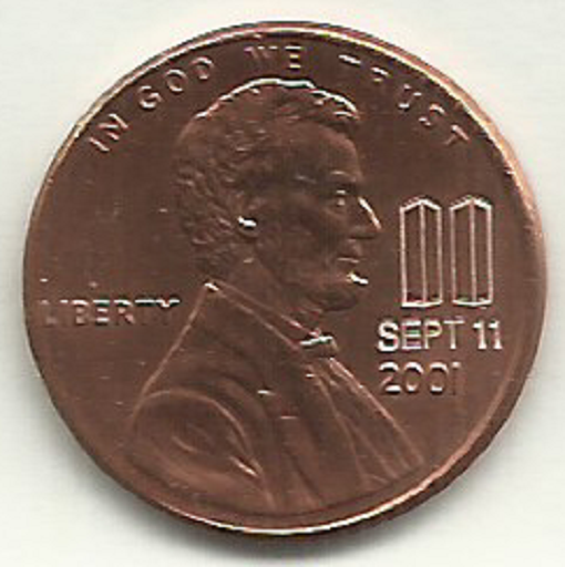2001 Lincoln Cent RARE Sept 11 2001 Twin Towers Memorial 9