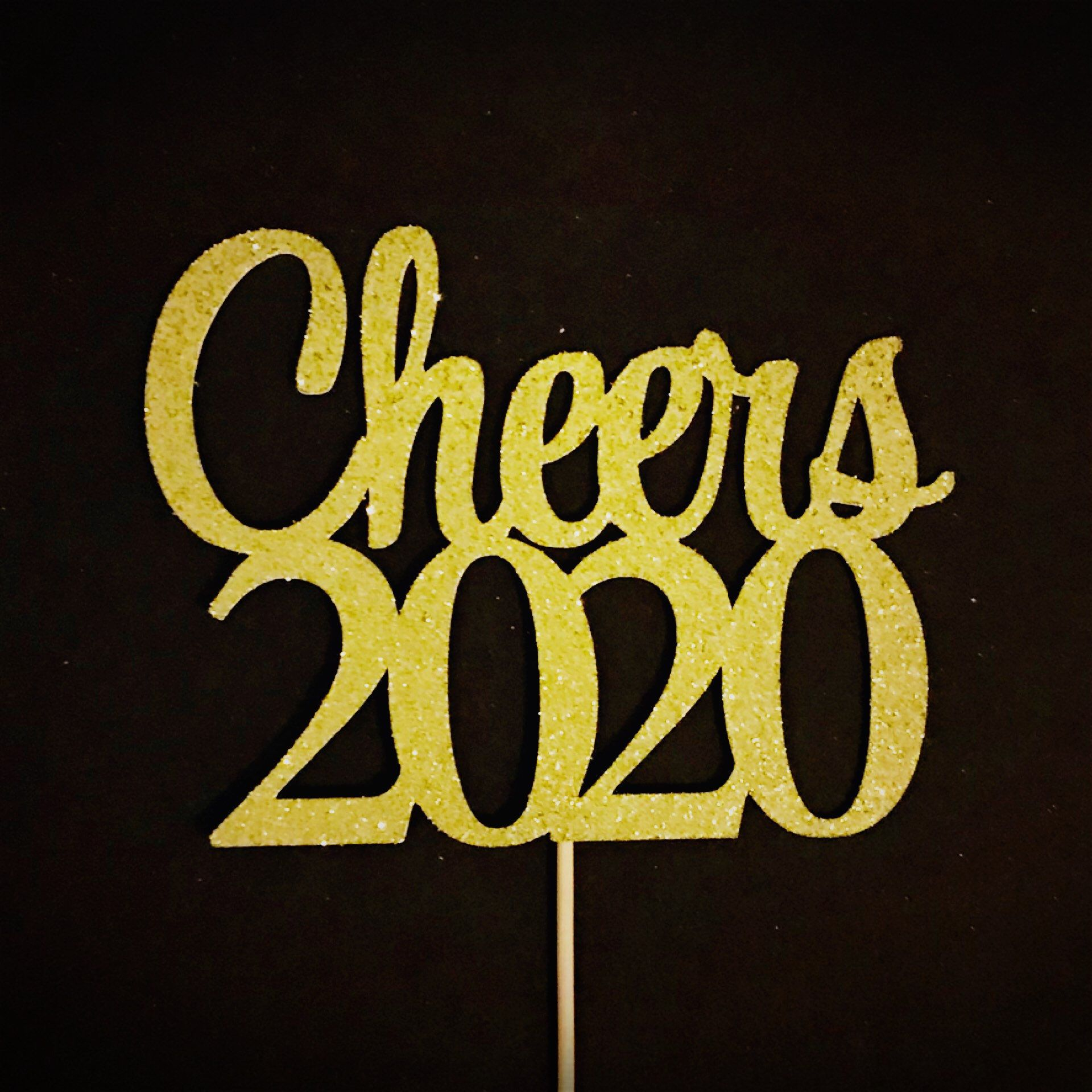 Cheers 2020 Cake Topper, New Year Party Cake Topper, New