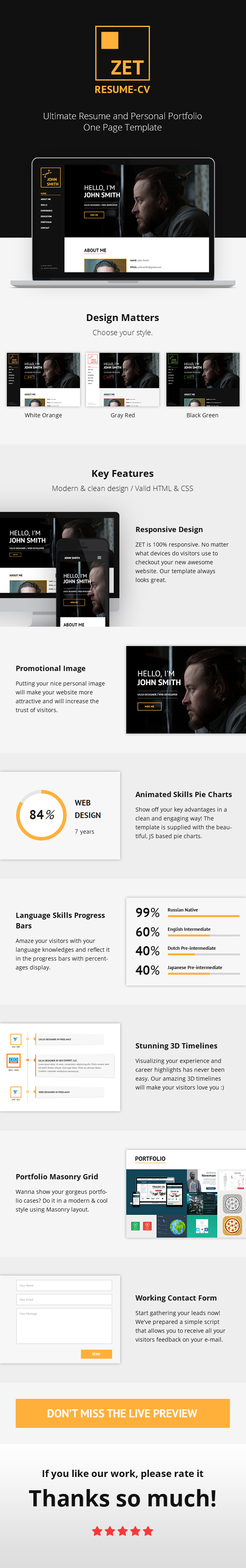 Zet  One Page ResumePersonal Portfolio Html Template Personal