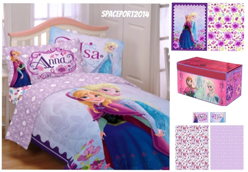 Disney FROZEN Girls Twin COMFORTER +SHEETS +TOY BOX SET Anna+Elsa ...