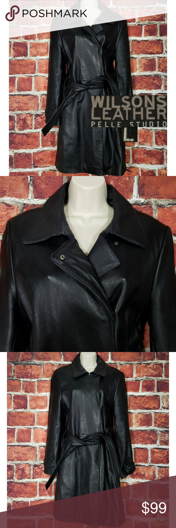 Wilsons Leather Trench Coat Women Sz L Wilsons Leather