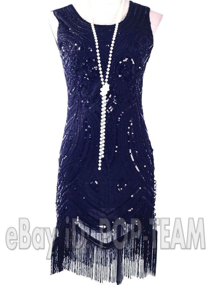 Black Vintage Roaring 20 S Gatsby Fancy Costume 1920 Fler Dress Charleston Unbranded Ballgowneveninggownfringefringestretchbody
