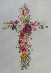Another beautiful cross.  IF242  Floral Cross  12×17  18m
