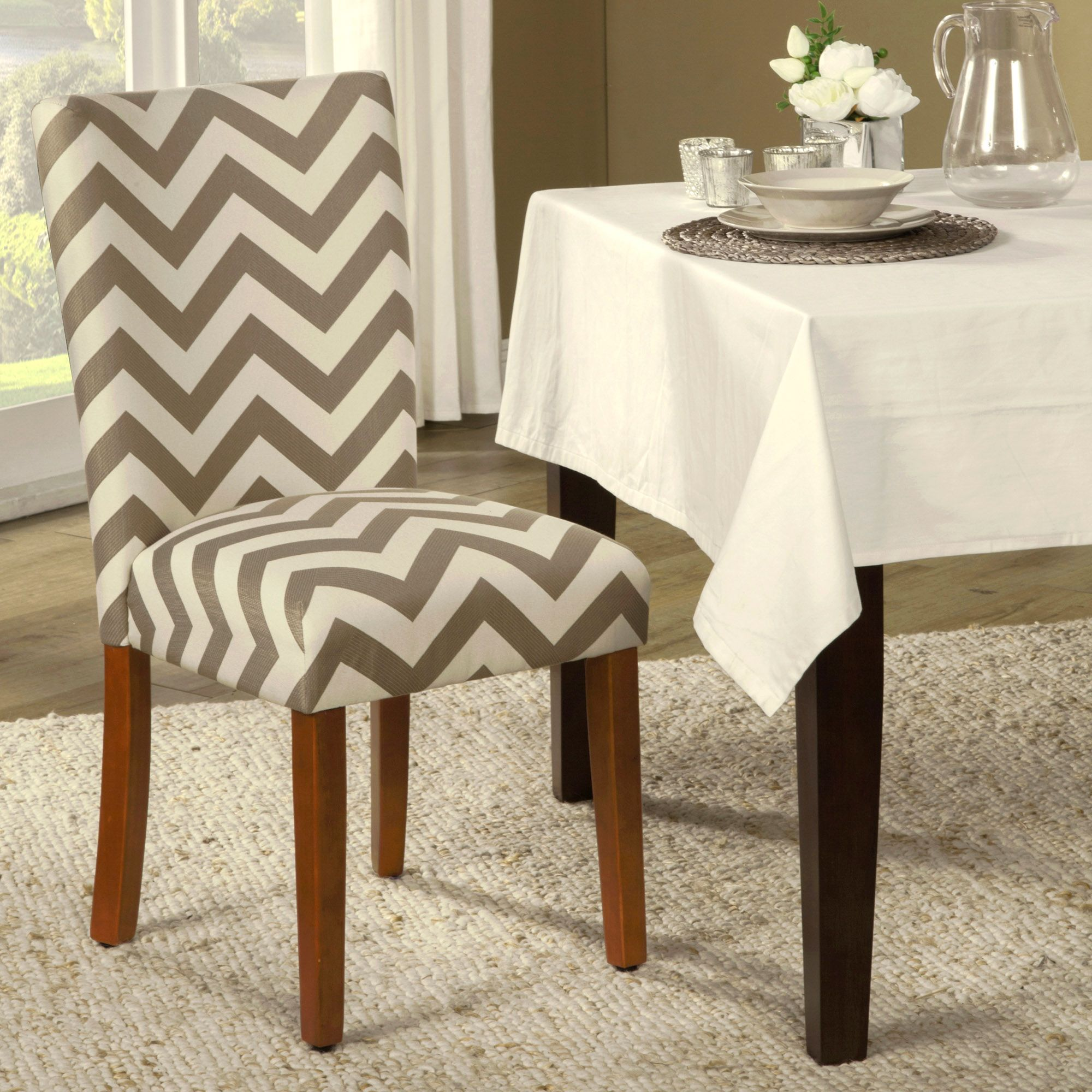 Traditional Parsons Chair Design Offered In A Modern Chevron Pattern