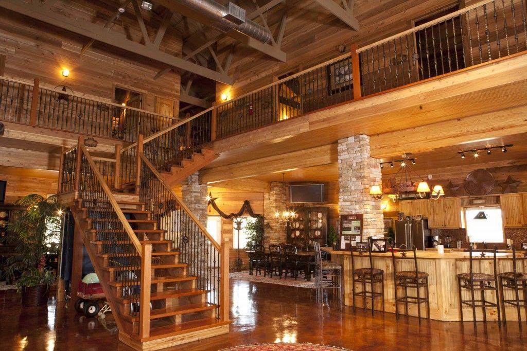View of staircase bar stonework paul 39 s cabin morton for Morton building cabin