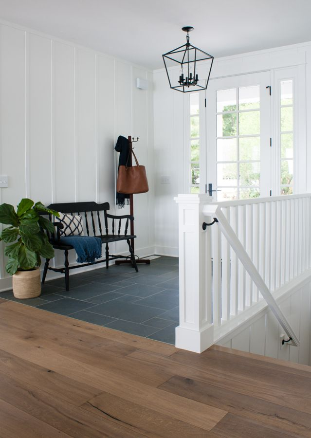 Blue Slate Entry Way Tile Entryway Flooring Foyer Flooring Interior Railings