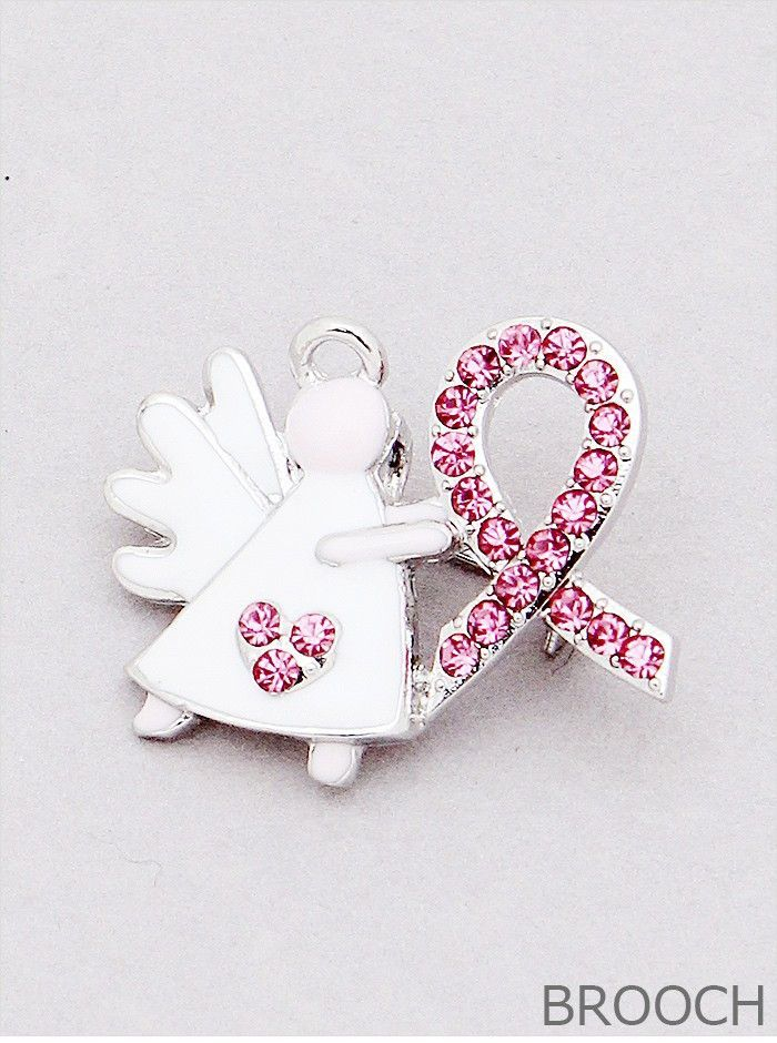 Pink Ribbon Breast Cancer Brooch